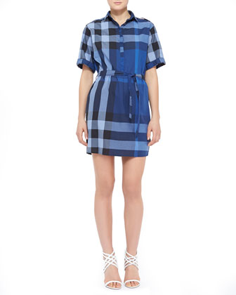 Cotton Check Shirtdress, Mid Indigo