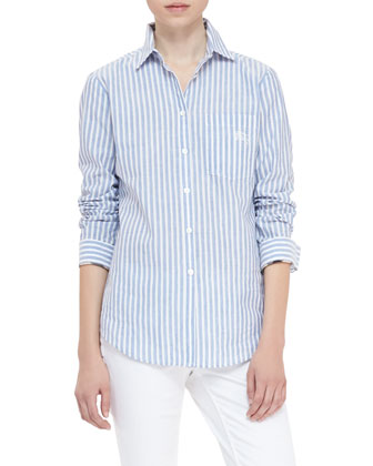 Striped Cotton-Linen Button-Up Shirt, Bright Canvas Blue