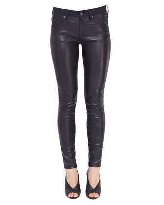 Leather-Front Skinny Jeans, Black