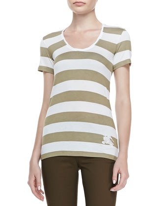 Wide-Striped Tank Top, White/Tan