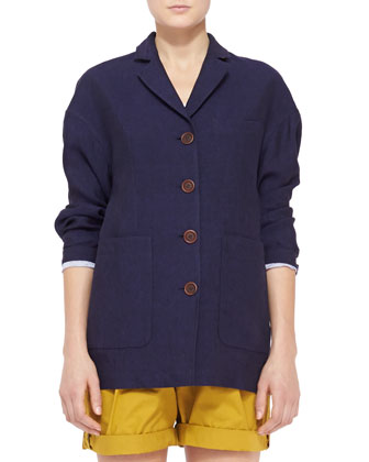 Drop-Shoulder Linen Blazer, Dark Indigo