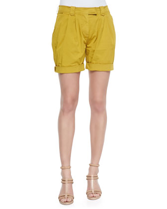 Tailored Pleated Shorts, Yellow Quartz