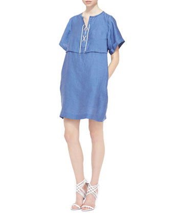 Lace-Front Short-Sleeve Tunic Dress, Lupine Blue