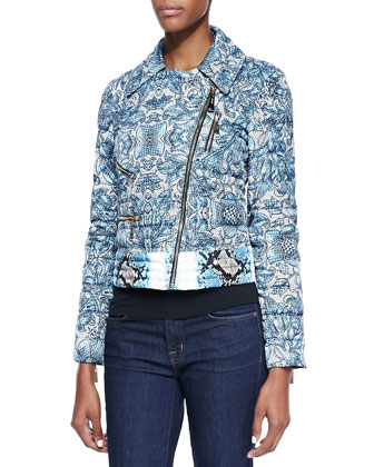 Cyan Kennet-Print Short Light Puffer Jacket, Light Blue
