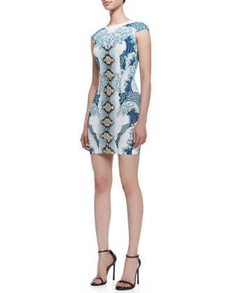 Light Cyan Wild Waves Printed Minidress