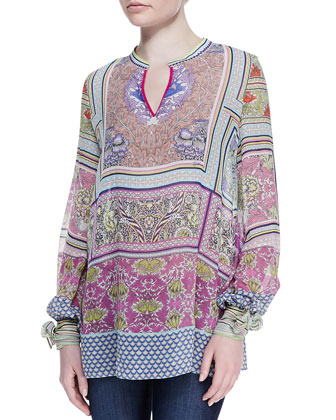 Morris Printed Silk Chiffon Blouse, Multicolor