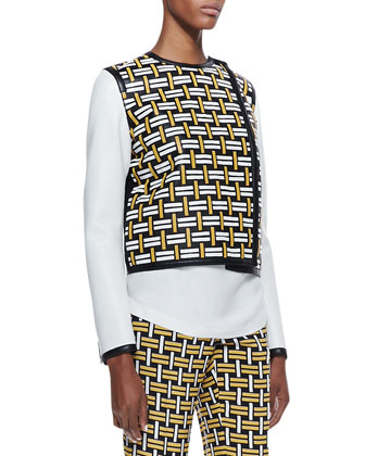 Woven Leather Boxy Jacket, Black/White/Yellow