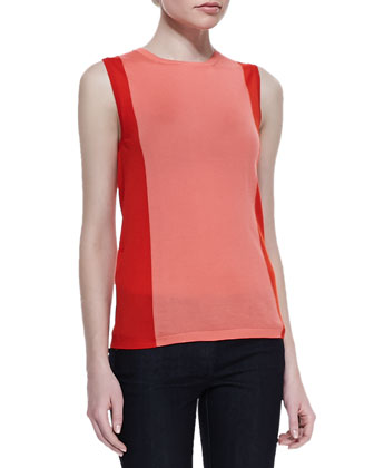 Colorblock Cashmere Sleeveless Round-Neck Shell