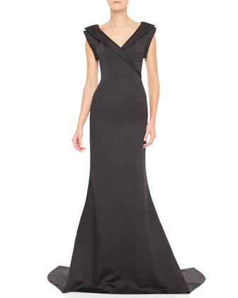 Faux Wrap-Front V-Neck Gown, Black