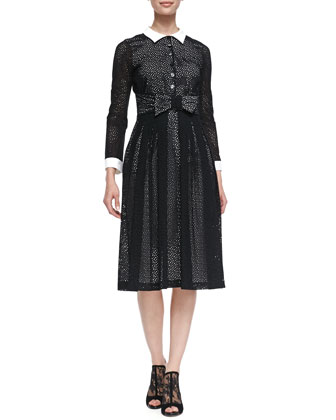 Contrast Collared & Cuffed 3/4-Sleeve Broderie Anglaise Dress
