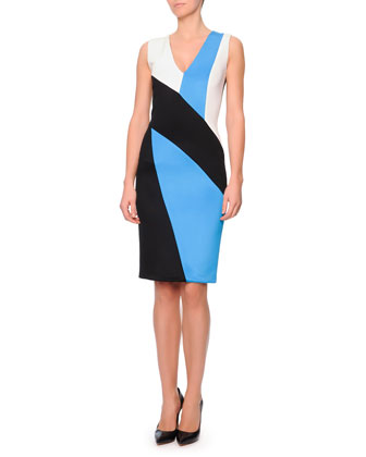 V-Neck Colorblock Punto Roma Dress, Black/Blue