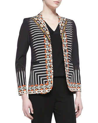 2-Button Tribal Striped Printed Jacket, Black