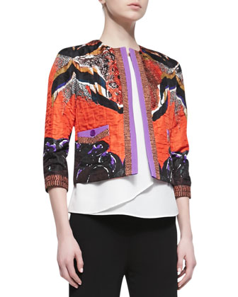 Cropped Printed Cloque Jacket, Orange/Purple