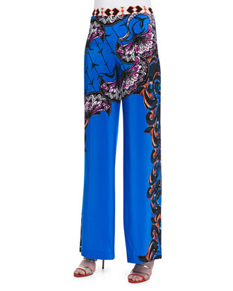 Silk Largo Printed Wide-Leg Pants, Navy