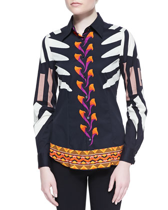 Modern Tribal Print Stretch Cotton Blouse, Black/Orange