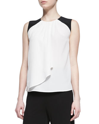 Silk Colorblock-Shoulder Shirt with Drape