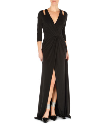 Cutout-Shoulder Jersey Crossover Gown