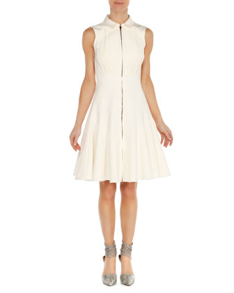 Pleated Zip Flare Dress