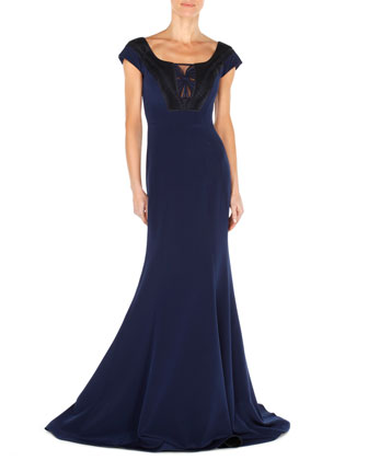 Cap-Sleeve Twist-Pleat Crepe Gown