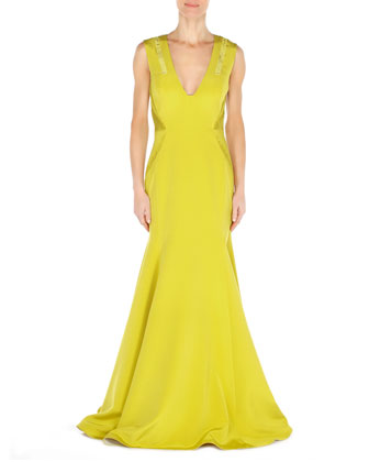 V-Neck Side-Pleat Crepe Gown