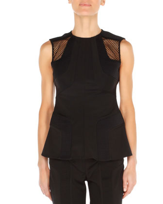 Paneled Net-Shoulder Top