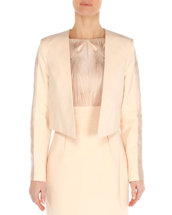 Clean Angled-Hem Jacket and Twist-Ribbon Bateau Dress