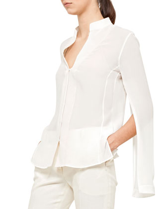 Silk Crepe Blouse, Calla White