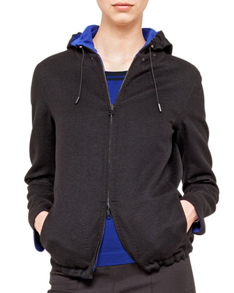 Double-Faced Wool Reversible Jacket with Hood, Cashmere-Silk Knit Pullover ...