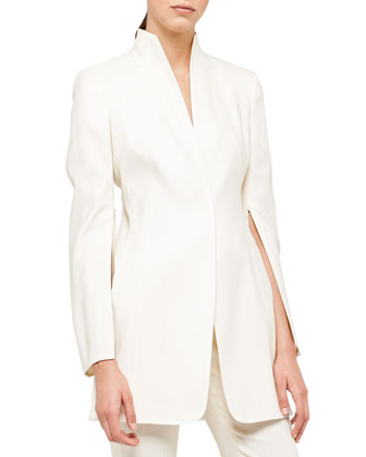 Double-Faced Dress Jacket, Silk Crepe Blouse & Melvin Slim-Leg Pants