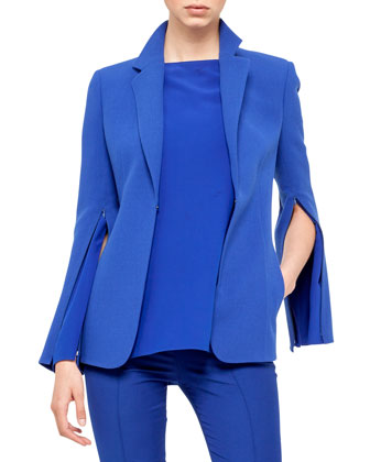 Double-Faced Wool Crepe Jacket & Silk Crepe Boat Neck Tunic