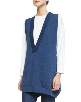 A-Line Sleeveless Deep Neckline Top, Dark Blue