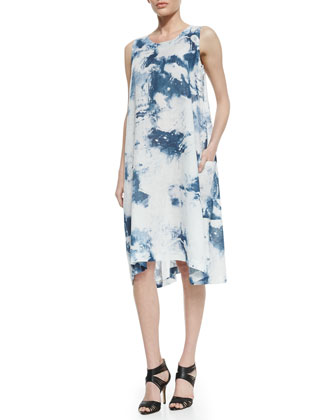 Side Pleat Linen Dress, Denim Blue