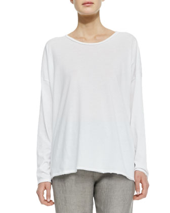 A-Line Long Sleeve Tee, White