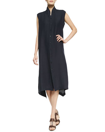 Side Cascading Sleeveless Dress, Dark Navy