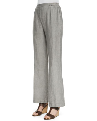 Flat-Front Boot-Cut Trousers, Gravel