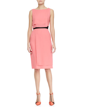 Sleeveless Layered Dress, Shell Pink