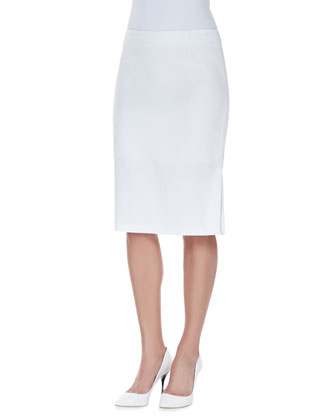 Skirt with Kickback Detail, White