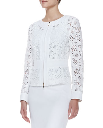 Long-Sleeve Floral Lace Zip Jacket, White