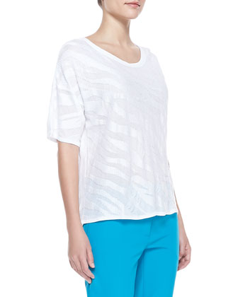 Drop-Shoulder Zebra Top