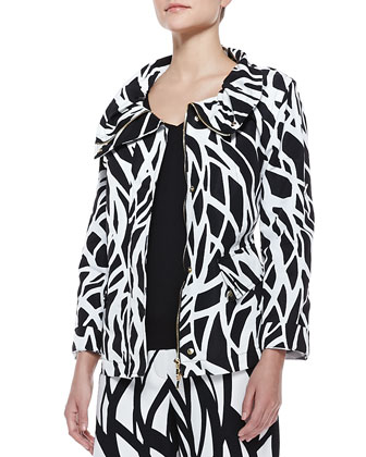 Wave-Print Parka, Black/White