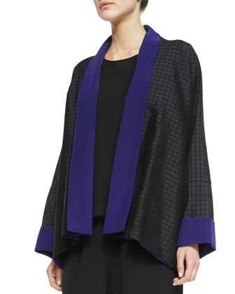 Wide A-Line Collar Jacket, Black/Regal