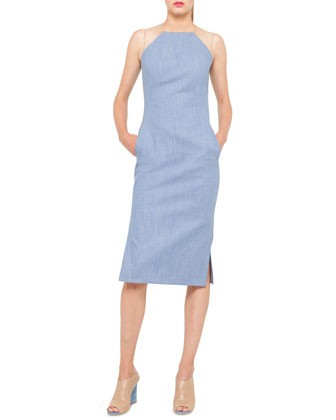 Cotton Denim Sheath Dress with Sheer Shoulders, Sky