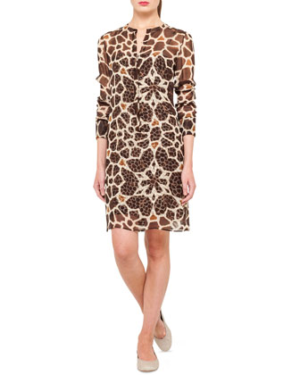 Optical Giraffe-Print Silk Tunic Dress, Caramel/Thistle
