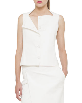 Double-Face Stretch Gilet, Calla White