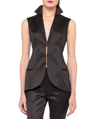 Sleeveless Stretch Silk Satin Gilet, Black