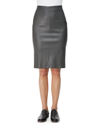 Mini-Stripe Peplum T-Shirt and Slim Leather Tubino Skirt
