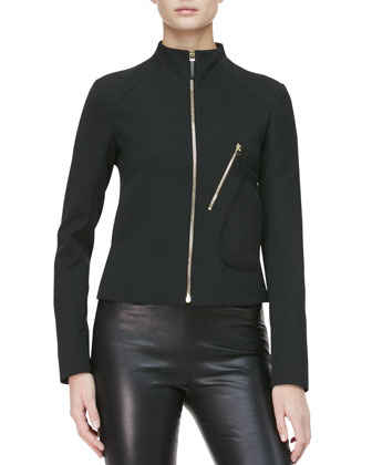 Modified Crepe Biker Jacket