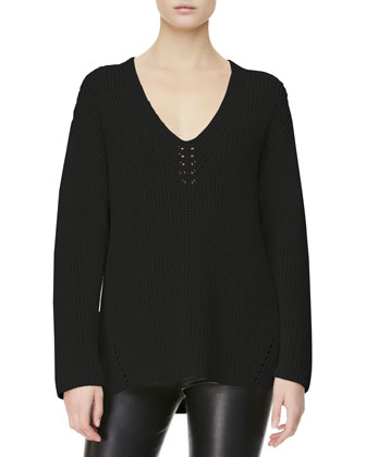 V-Neck-Detail Knit Sweater, Black