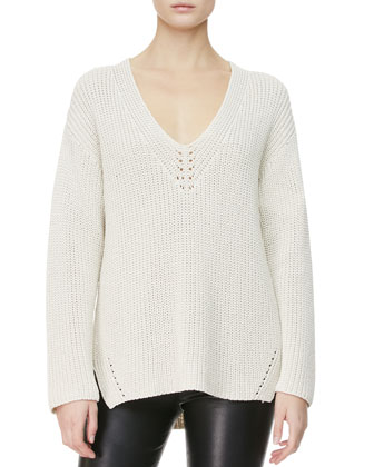 Neck-Detail Knit Sweater