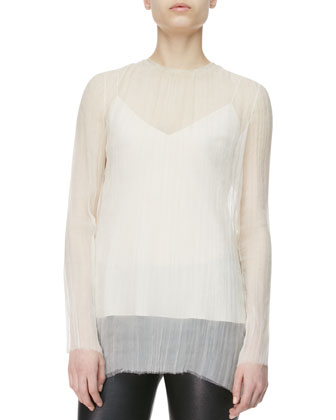 Crinkled Sheer Tunic Blouse, Cord